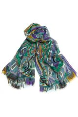 Etro Printed Wool and Silkblend Scarf - Lyst