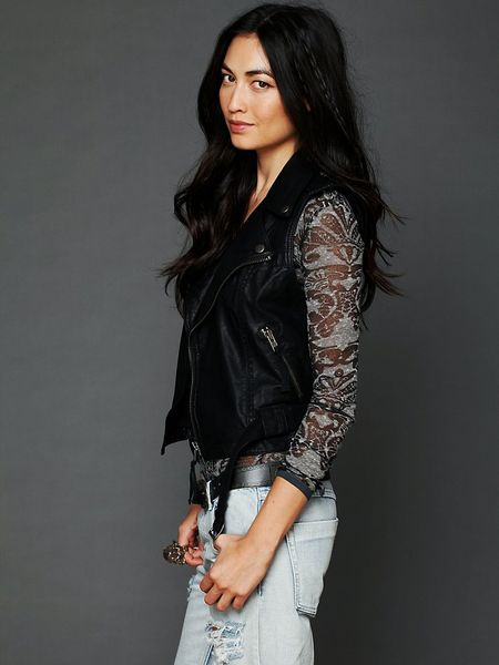 Free people embroidered sleeveless vegan leather jacket in