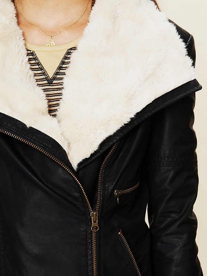 Free People Vegan Leather Jacket With Fur Collar In Black