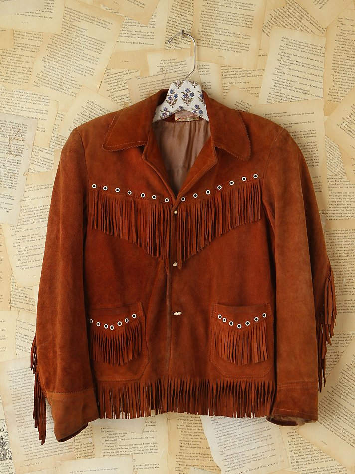 Free People Vintage Brown Suede Fringe Jacket In Brown Lyst