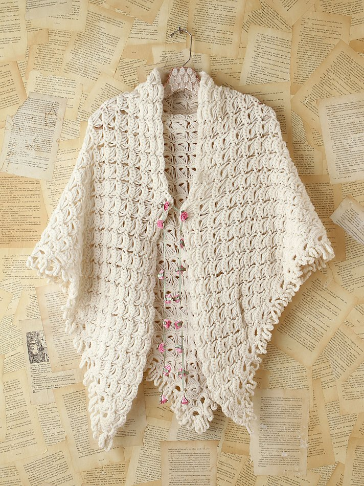 Lyst Free People Vintage Crochet Sweater Poncho In Natural