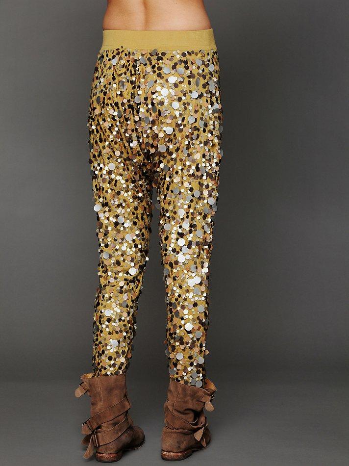 Free people Disco Sequin Harem Pants in Metallic | Lyst