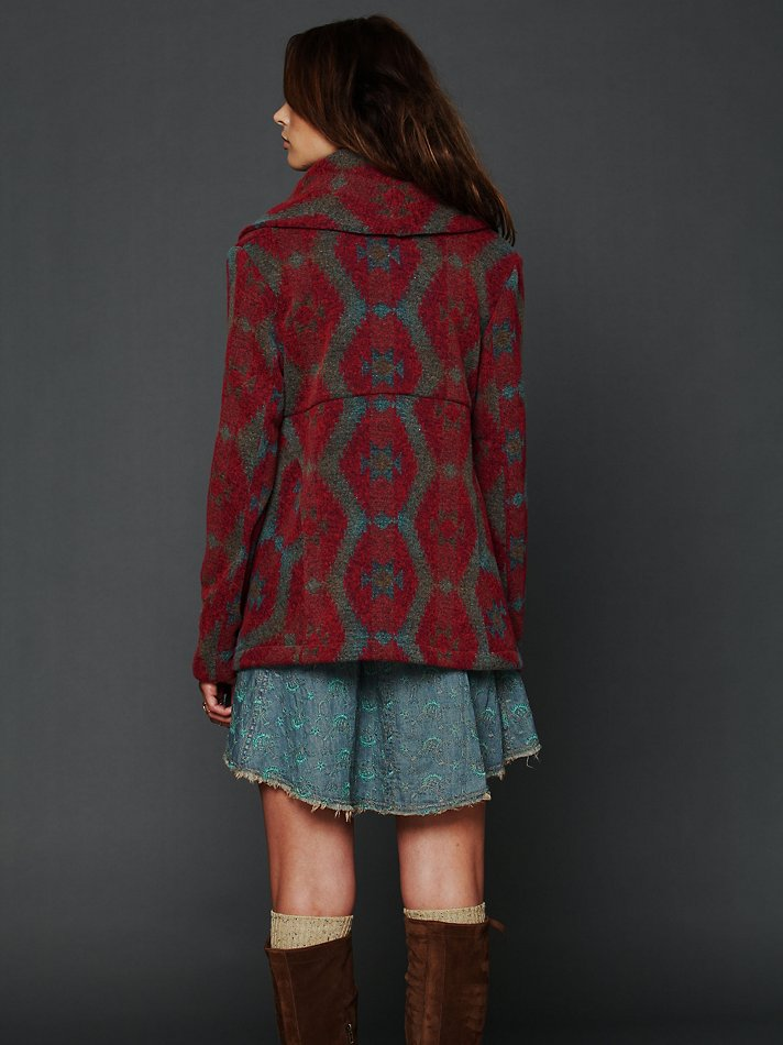 Free People Changing Patterns Wool Swing Coat In Red Lyst