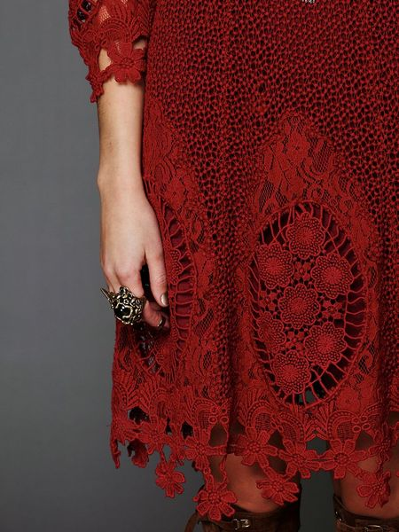 Free People Mi Amore Lace Dress In Red Wine Lyst