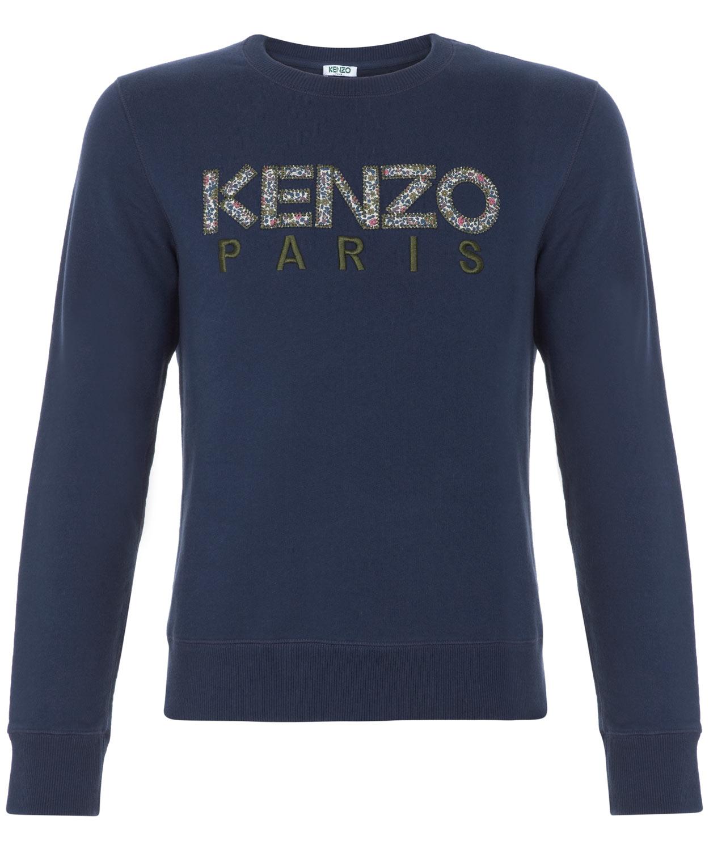 Kenzo Liberty Print Logo Jumper In Blue For Men Navy Lyst