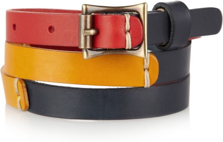 Levi's Colorblocked Leather Skinny Belt in Multicolor (multicolored)