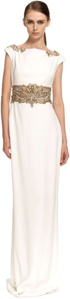 Marchesa Cap Sleeve Crepe Column Gown in White (ivory) - Lyst