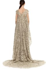 Marchesa Illusion Tulle Gown with Embroidered Cape Overlay in Silver - Lyst