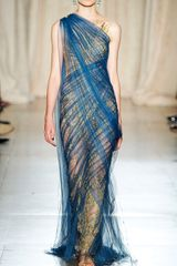 Marchesa Embroidered Illusion Tulle Column Gown in Blue (teal) - Lyst