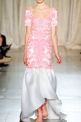 Marchesa Embroidered Gazar Gown with Tulip Skirt in White (white/pink) - Lyst