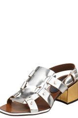 Marni Midheel Mirrored Leather Sandal - Lyst