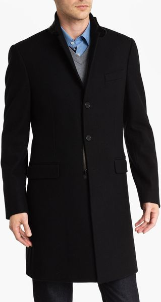 Michael Kors Melton Crombie Topcoat with Leather Trim in Black for Men - Lyst