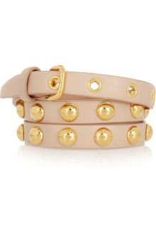Miu Miu Studded Leather Skinny Belt - Lyst
