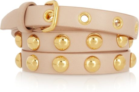 Miu Miu Studded Leather Skinny Belt in Pink (blush)