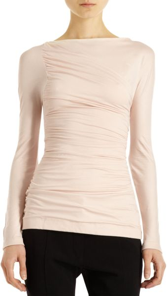 Narciso Rodriguez Ruched Long Sleeve Top - Lyst