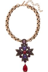 Oscar de la Renta 24karat Goldplated Crystal and Cabochon Necklace - Lyst