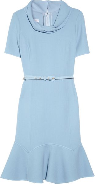 Oscar de la Renta Belted Woolcrepe Dress - Lyst
