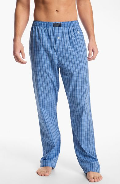 Polo Ralph Lauren Lounge Pants In Blue For Men Bond Plaid