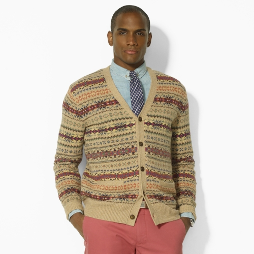 Polo ralph lauren Fair Isle V-neck Cardigan in Natural for Men | Lyst