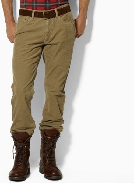 Polo Ralph Lauren Five-Pocket Straight Fit Cords in Khaki for Men (light khaki) - Lyst