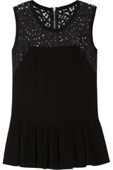 Rebecca Taylor Crepe and Lace Peplum Top - Lyst