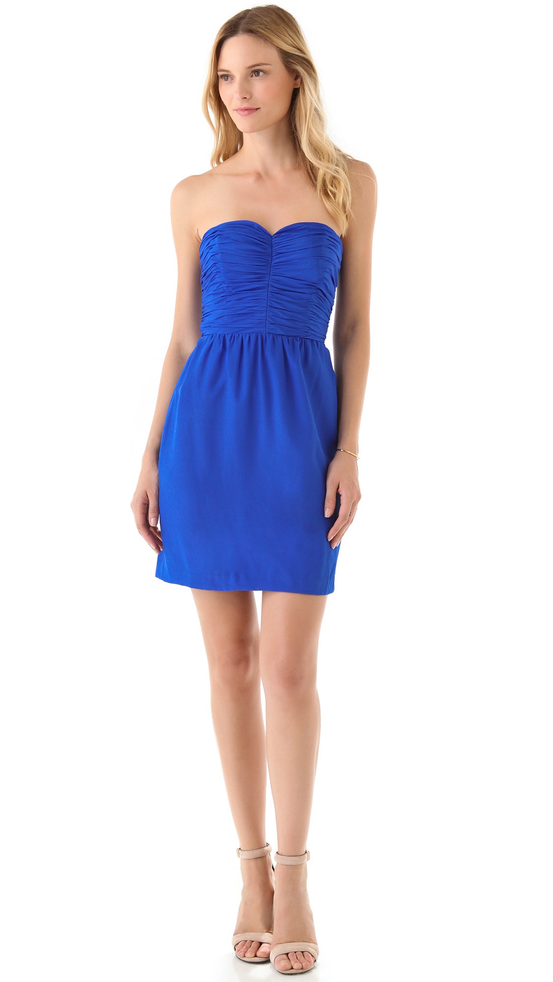Rebecca taylor Sweetheart Strapless Dress in Blue - Lyst