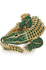 Roberto Cavalli Alligator Goldplated Swarovski Crystal Cuff - Lyst