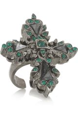 Roberto Cavalli Palladiumplated Swarovski Crystal and Hematite Cross Ring