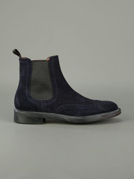 santoni suede chelsea boot in blue for men navy lyst. Black Bedroom Furniture Sets. Home Design Ideas