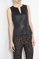 Theory Leather Peplum Top