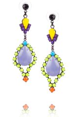 Tom Binns Riri Painted Swarovski Crystal and Stone Earrings - Lyst