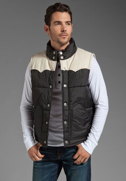 True Religion Nylon And Leather Puffer Vest In Black For
