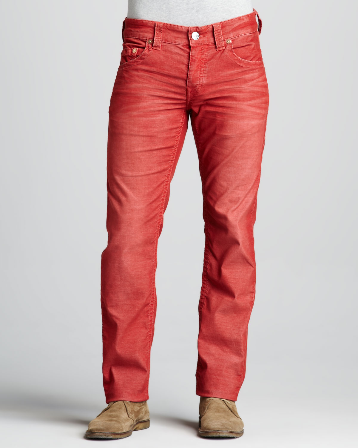 True religion Geno Slim Corduroy Pants in Red for Men | Lyst