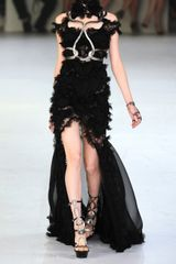 Alexander Mcqueen Embellished Silkchiffon and Lace Gown in Black - Lyst