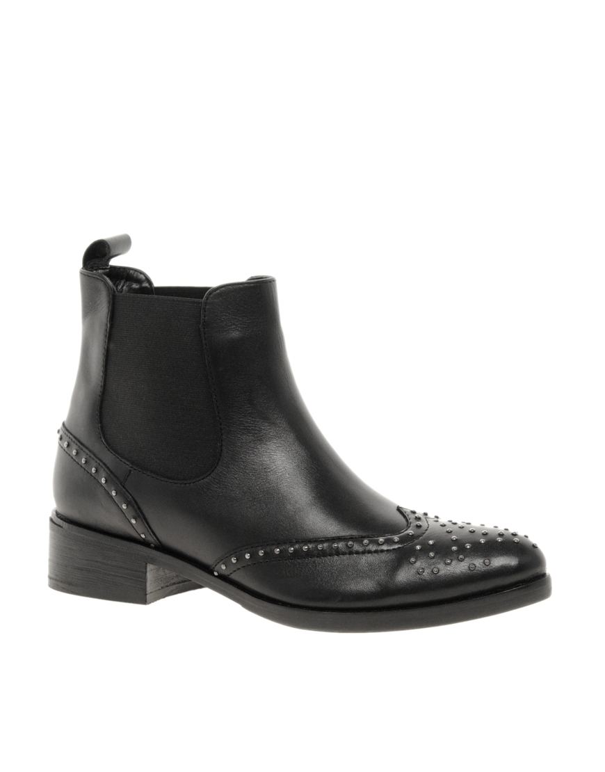 asos asos autotune studded leather ankle boots in black lyst