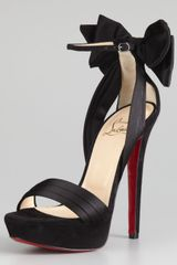 Christian Louboutin Vampanono Bow Red Sole Sandal Black - Lyst