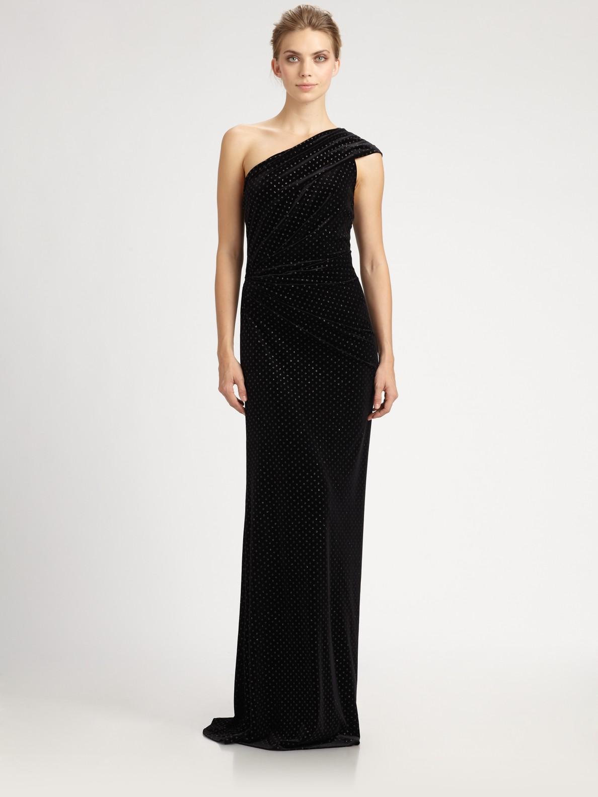 8de879992bec Lyst - David Meister One Shoulder Velvet Gown in Black