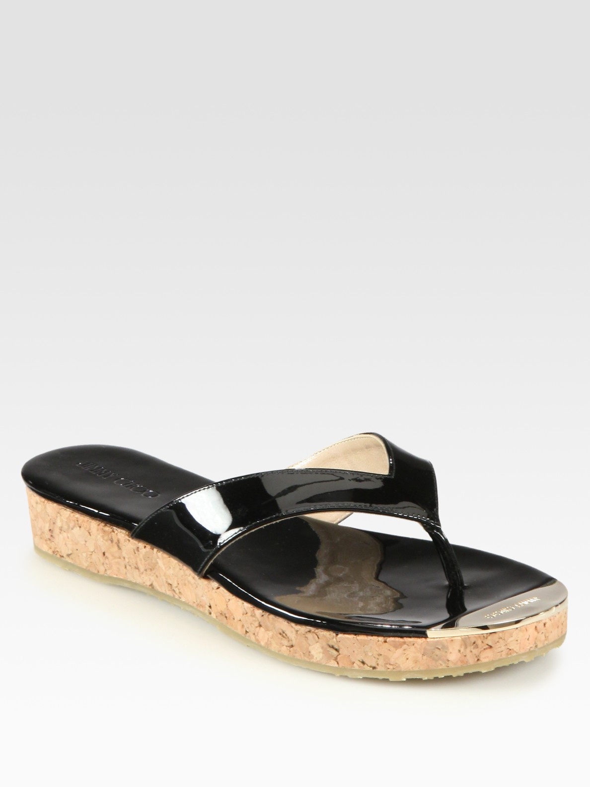 844560f9ef7d Lyst - Jimmy Choo Pence Patent Leather Cork Wedge Sandals in Black