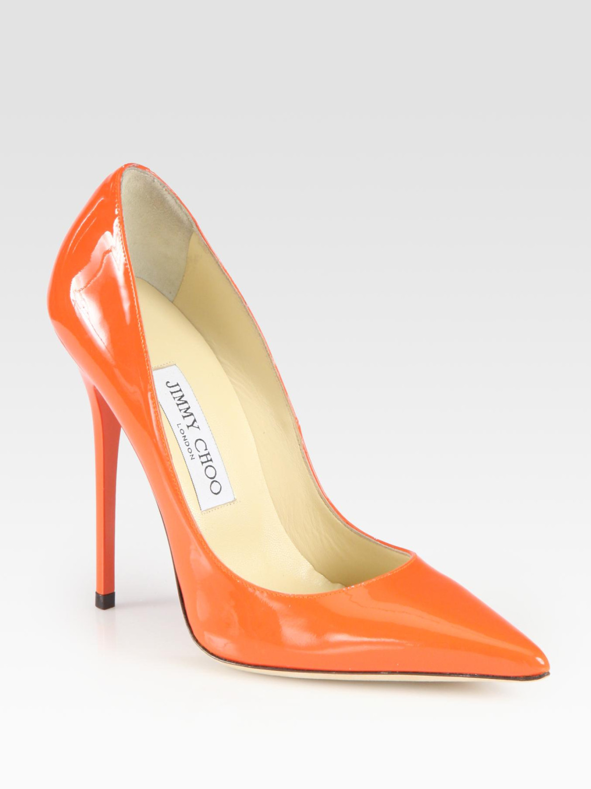 144afcac176 Lyst - Jimmy Choo Anouk Patent Leather Pumps in Orange