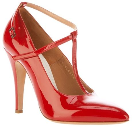 Maison Margiela T Bar Pump in Red