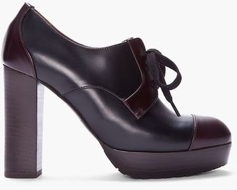 Marni Black Brown Leather Heeled Derbies - Lyst