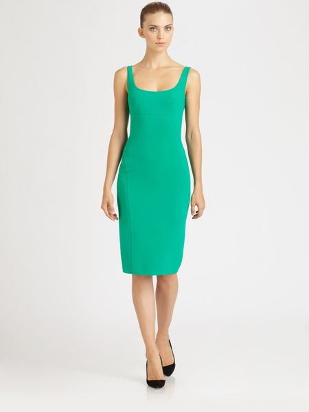Michael Kors Seamed Crepe Dress in Green (emerald) - Lyst