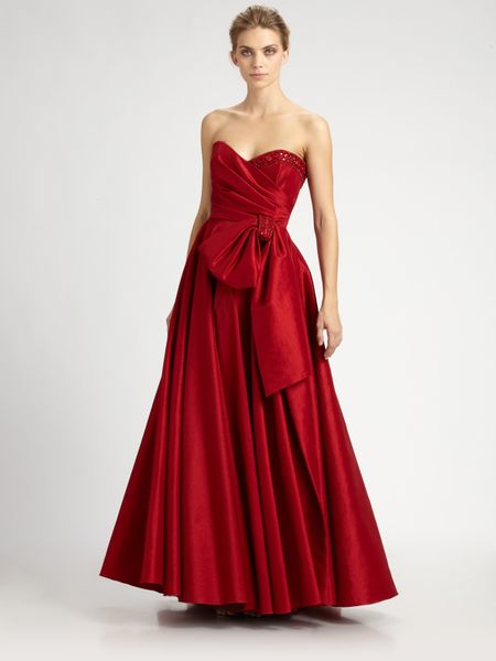Notte By Marchesa Silk Taffeta Gown in Red - Lyst