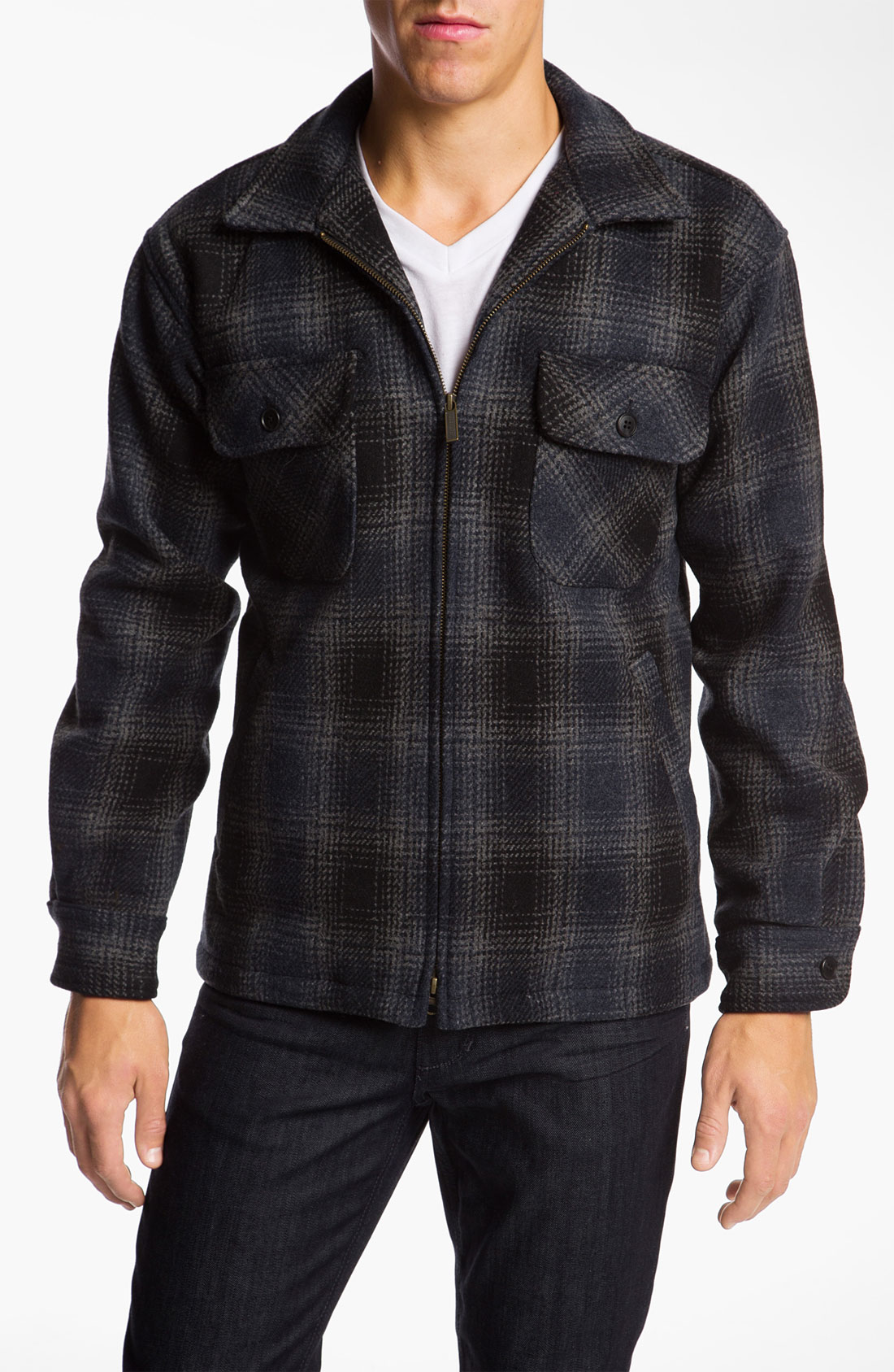 Lyst pendleton plaid wool shirt jacket in blue for men for Plaid shirt jacket mens