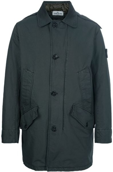 stone island trench coat in green for men lyst. Black Bedroom Furniture Sets. Home Design Ideas