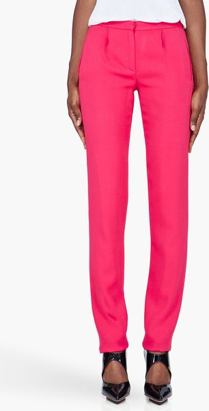 Thakoon Slim Pink Tucked Trousers - Lyst