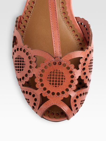 Tory Burch Alexa Leather T Strap Sandals In Brown