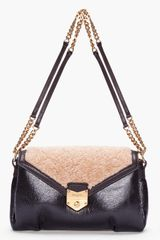 Yves Saint Laurent Black Shearling Dandy Flap Bag - Lyst