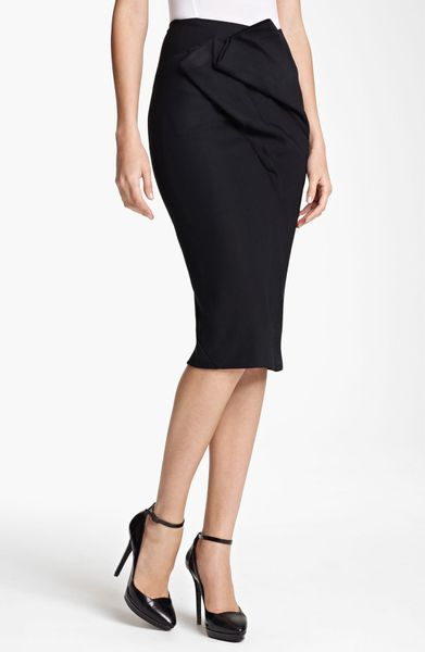 Donna Karan New York Collection Draped Double Knit Skirt in Black