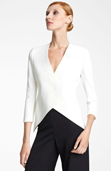 Donna Karan New York Collection Knit Tuxedo Jacket in White (gypsum ivory) - Lyst